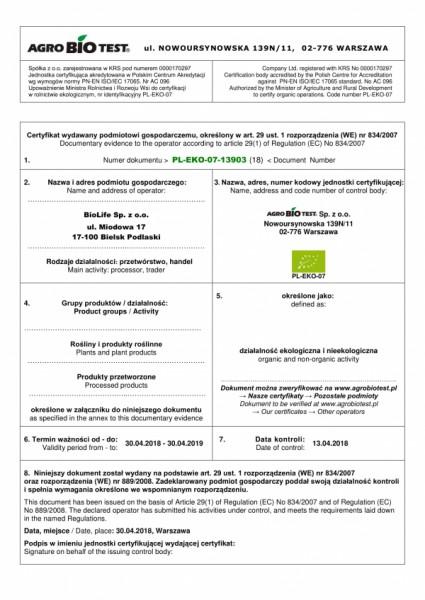 certyfikat BioLife 2018_1